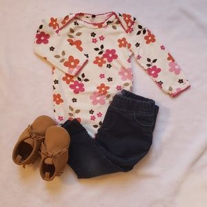 Carters floral fall bodysuit 6 mo l/s